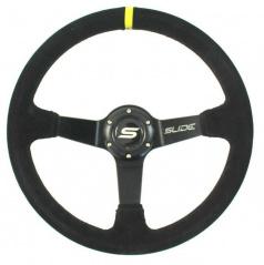 Športový volant WRC čierny semiš Yellow Strip 350 mm