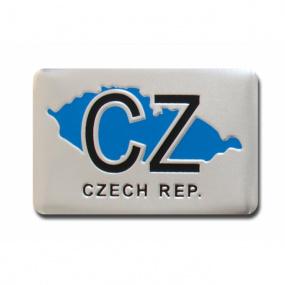 Plastický znak CZ + MAPA alu prevedenie s podlepením 40x62 mm