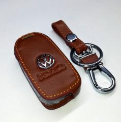 Kožená kľúčenka pre vystreľovacie kľúče koncernových áut VW