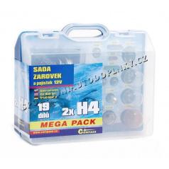 Žiarovky náhradné 12V servisný box Mega H4 + H4 + poistky