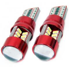 Žiarovky 27 SMD LED T10 (W5W) 12V biela CAN-BUS s šošovkou