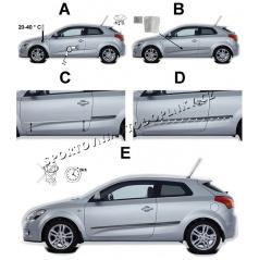 Bočné ochranné lišty dverí - Škoda Citigo 2011+ 3 dver.