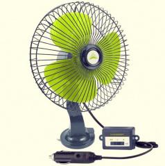 Regulovateľný ventilátor 12V 20 cm do zapaľovača s uchytením na sklo