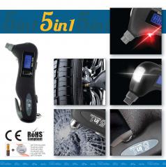 Multifunkční nástroj (pneuměřič, nůž, kladívko, bílé a bezpečnostní červené osvětlení)