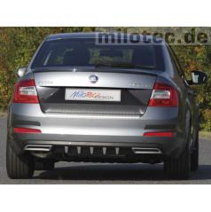 Difúzor zadného nárazníka s prevleky - ABS čierna metalíza - Škoda Octavia III Limousine, Combi