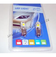Žiarovka LED3 super silná Ba9s 12V s väčším odporom biela 2ks (bajonet)
