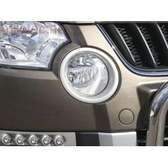 Škoda Yeti - rámčeky hmlových svetiel, ABS - strieborné matné
