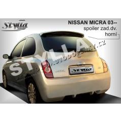 NISSAN MICRA 03+ spoiler zad. dveří horní