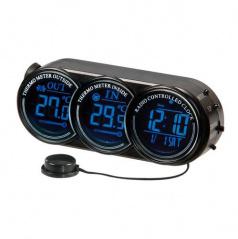 Teplomer do auta vnútorná / vonkajšia teplota, hodiny, dátum, 2 farby podsvietenia