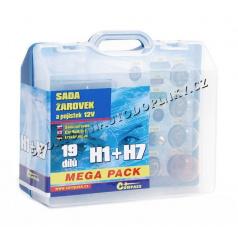 Žiarovky náhradné 12V servisný box Mega H1 + H7 + poistky