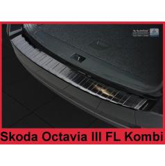 Nerez kryt- čierna ochrana prahu zadného nárazníka Škoda Octavia III FL kombi 2016+