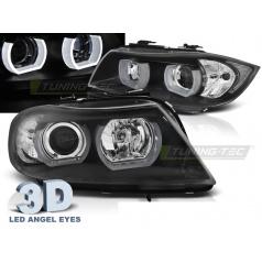 BMW E90, E91 03.2005-08.2008 predné číre svetlá 3D U-Type black (LPBMI4)