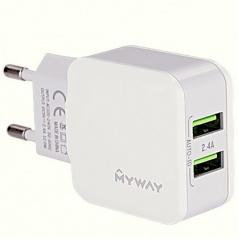 Sieťová domáce nabíjačka do 220V s 2 USB 2,4A