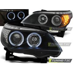 BMW E60, E61 2004-07 Predné číre svetlá Angel Eyes black (LPBM94) - skladem
