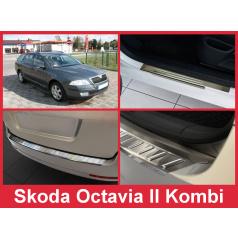 Nerez kryt- zostava-ochrana prahu zadného nárazníka + ochranné lišty prahu dverí Škoda Octavia II kombi 2004-12