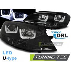 VW Golf 7 11.2012- predné číre svetlá U-Type black (LPVWK6)