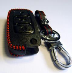 Kožená kľúčenka pre vystreľovacie kľúče koncernových áut VW - čierna