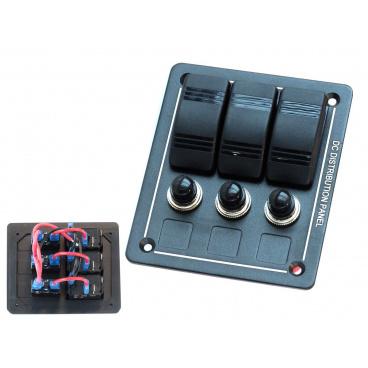 ALU Panel 12V / 24V (3 vodotesné spínače s certifikátom IP68)