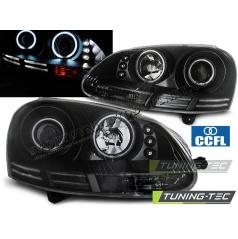 VW Golf 5 10.2003-09 predné číre svetlá Angel Eyes CCFL black (LPVWJ1)