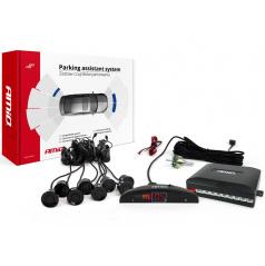 Parkovací systém s led i akustickou signalizací 8 černých senzorů (předek + zadek)