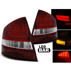 Škoda Octavia 2 sedan 2004-12 zadné lampy red white LED BAR (LDSK11)