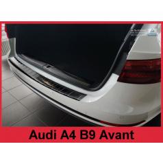 Nerez kryt- čierna ochrana prahu zadného nárazníka Audi A4 B9 Avant 2015-16