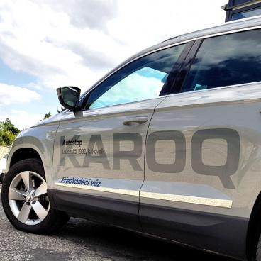 Nerez chrom dekorativní boční dveřní lišty Omtec - Škoda Karoq