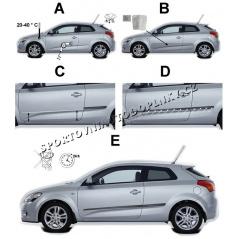 Boční ochranné lišty dveří - Hyundai i20, facelift, 2013 -, 5 dveř.