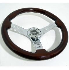 Športový kovový volant s imitáciou dreva 2 s priemerom 350 mm