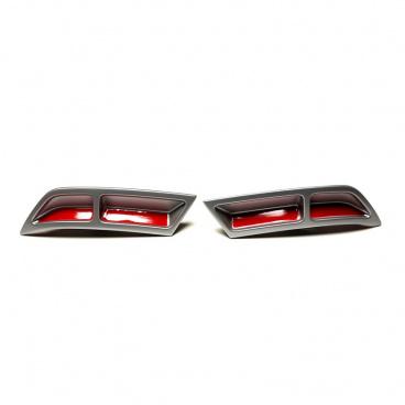 Spoilery zadního difuzoru - atrapy výfuku Turbo design Glowing red - Škoda Octavia III