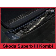 Nerez kryt- čierna ochrana prahu zadného nárazníku Škoda Superb III kombi 2015+