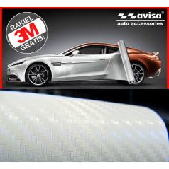 3D karbón fólia biela perleť 50x38 cm