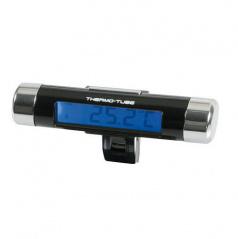 Teplomer digitálny vnútorný s hodinami TUBE modro podsvietený