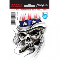 Samolepka lebka s cigarou USA
