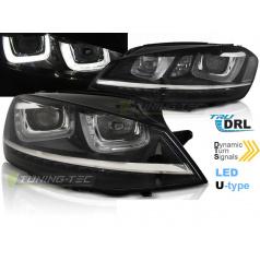 VW Golf 7 11.12-17 přední čirá světla U-Type black DRL SEQ (LPVWP6)