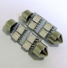 4 LED žiarovky sulfit modré 39 mm s odporom (CANBUS) - 2 ks