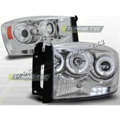 Dodge RAM 2006-08 predné číre svetlá Angel Eyes chrome (LPDO05)