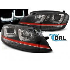 VW Golf 7 11.2012- přední čirá světla U-Type Black With Red Line GTI Look (LPVWM2)