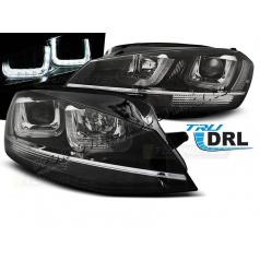 VW Golf 7 11.2012- přední čirá světla U-Type Black With Chrome Line (LPVWM1)