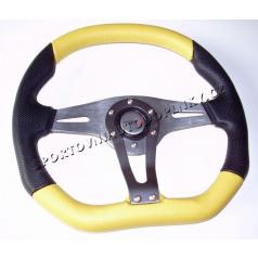 Športový volant Technic Asymetric 340mm žltý-dopredaj