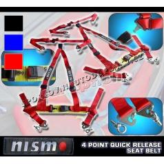 4 -bodové bezpečnostné pásy NISMO farba červená, čierna, modrá