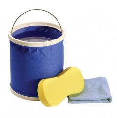 Mycí set (skládací kbelík, houba, mikrovláknová utěrka)