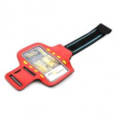 Elegantný reflexný držiak smartphonu na paži 8 LED červený