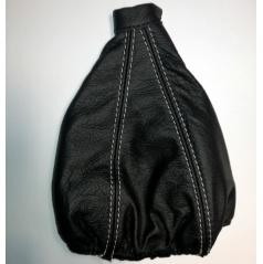 Manžeta řadící páky z pravé kůže černá (zdvojený šedý šev)