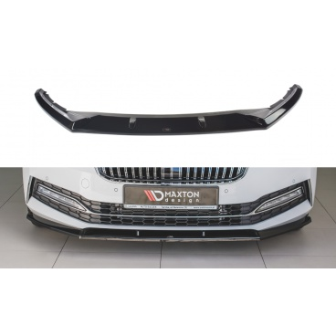 Spoiler pod predný nárazník ver.2 pre Škoda Superb Mk3 FL Facelift, Maxton Design (čierny lesklý plast ABS)