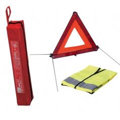Trojuholník výstražný E4 + výstražná vesta XL + obal