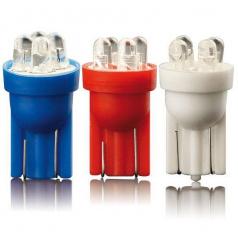 Žiarovka parkovacia T10 4 LED biela, modrá, červená 2 ks