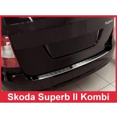 Nerez kryt - ochrana prahu zadného nárazníku Škoda Superb II kombi 2009-13