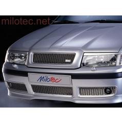 Trojdielna mriežka nárazníka Milotec, nerez s hmlovkami, Škoda Octavia Facelift