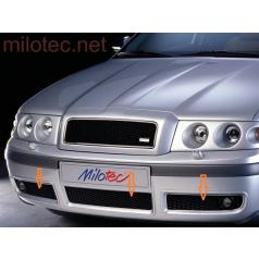 Trojdielna mriežka nárazníku Milotec, čierna s hmlovkami, Škoda Octavia Facelift